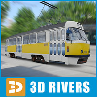 contemporary moscow tram tramways 3d model