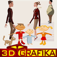 3d cartoon family people set model
