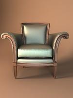 free armchair baker bergere 3d model