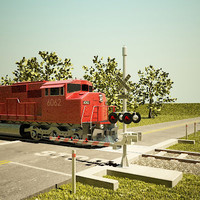 Railroad Crossing & Locomotive SD60