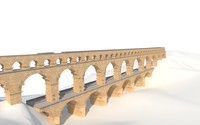 pont du gard bridge 3d model