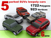 3d model parked suvs cars 5
