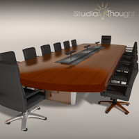 wood conference room table 3d 3ds