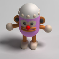 cephalopod cartoon character 3d obj