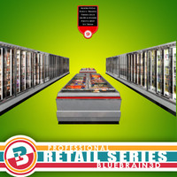 3d model grocery store freezer aisle