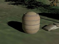 3d model wood barrel chicken feed