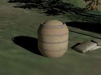 3d model wood barrel chicken feed