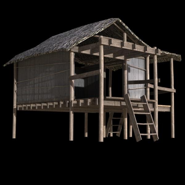3d model of island hut for Model beach huts