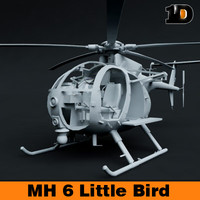 free helicopter mh-6 little bird 3d model