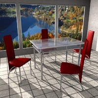 3d table chair set model