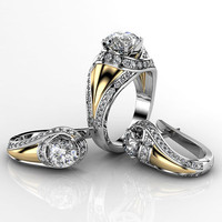 3d model engagment ring earring