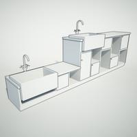 butler sink cupboard 3d fbx