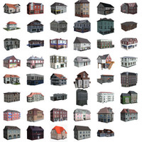 Set of 47 Low-poly Houses in 3Ds.