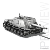 isu-152 heavy tank gun 3d model