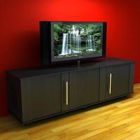 3d model rack lcd tv