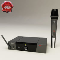 3d model wireless microphone akg wm