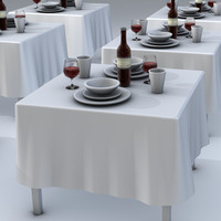 3d dinning table setting model