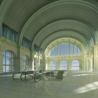 historic railway station hall 3d max