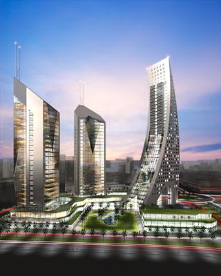 Skyscraper Scene in two light versions