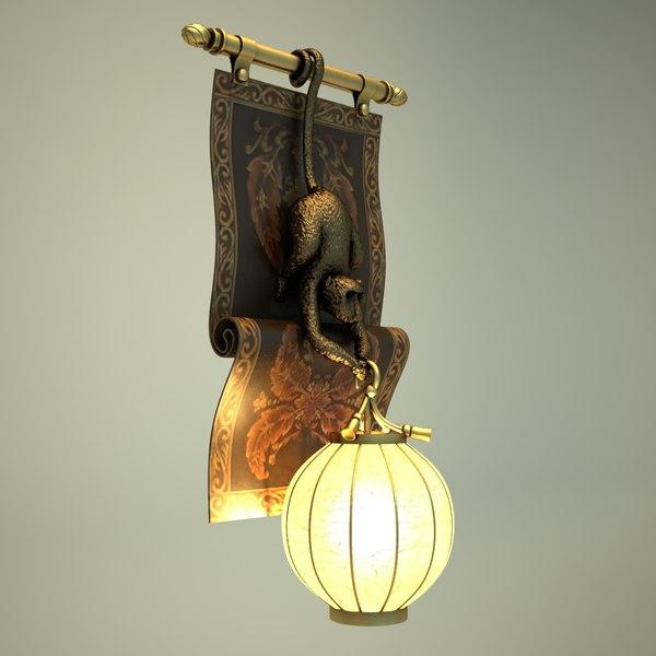 Hanging Monkey Lamp: Lamp 3d Model