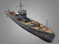3d ww1 submarine chaser model