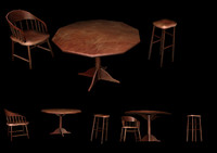 3d table chair stool model