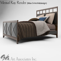 3ds max queen size bed wood