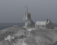 brugge windmill landscape buildings 3d model