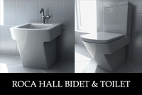 roca hall toilet bidet 3d model