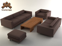 3d living room furniture set model