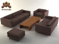 3d living room furniture set model