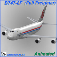3d b747-8 cargolux cargo plane