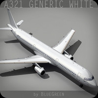 a321 generic white 3d model