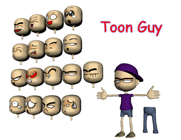 2d cartoon expressions 3d 3ds - ToonGuy... by Mantifang