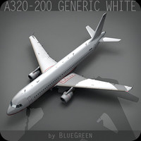 a320-200 generic white plane 3d max