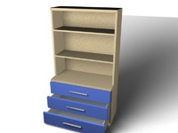 3D Model Bookcase Drawer Base with Hutch Top