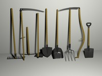 garden tools pack 3d 3ds