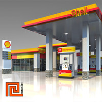 Low poly gas station Shell