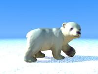 3d polar bear cub