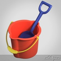 Toy bucket with shovel