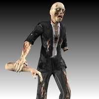 3d zombie walk animation model