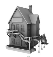 3d old country building house