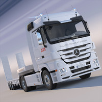 New Actros Truck with flatbed semitruck