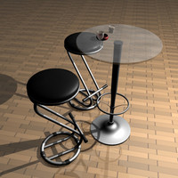 bars stool table 3d model