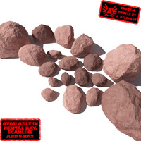 Rocks 7 Smooth RS49 - Light Red 3D rocks or stones