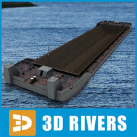 3ds max barge river transport cargo