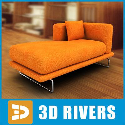 Ikea Orange Longue Couch Furniture 3d Model