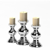 silver ceramic candle 3ds