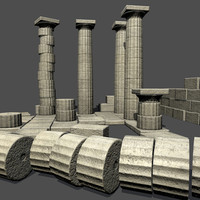 low poly Greek Doric ruins set