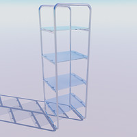 3d glass chrome shelving unit